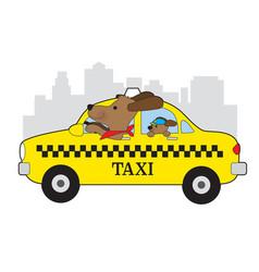 new york taxi dog vector image
