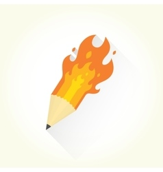 Pencil and flame isolated object vector image vector image