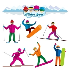 People involved in winter sport characters vector image vector image
