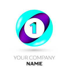 Realistic number one in colorful circle vector