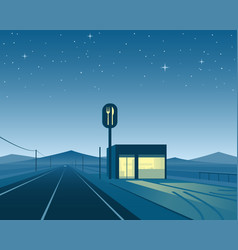 Road diner at night scene vector