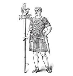 Roman soldier vintage engraving vector