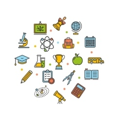 School Round Design Template Thin Line Icon vector image vector image