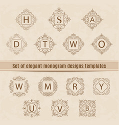 set of luxury elegant monogram design templates vector image vector image