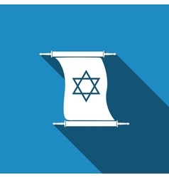 Star of david on scroll icon with long shadow vector