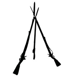 The black silhouette of vintage military rifles vector