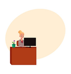 young pretty businesswoman secretary working on vector image vector image
