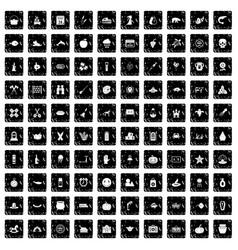100 autumn holidays icons set grunge style vector
