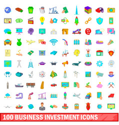 100 business investment icons set cartoon style vector
