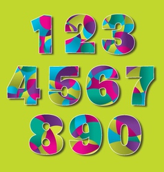 Colorful modern number set vector