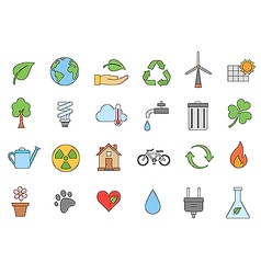 Eco colorful icons set vector image