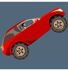 Cartoon man in a red suv drives up vector