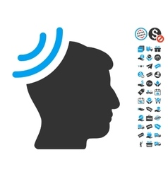 Radio reception brain icon with free bonus vector