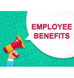 Megaphone with employee benefits announcement vector