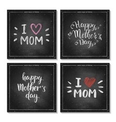 Happy Mothers Day lettering on chalkboard vector image