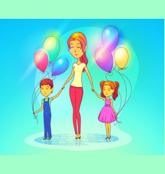 Mother or woman with daughter and son vector