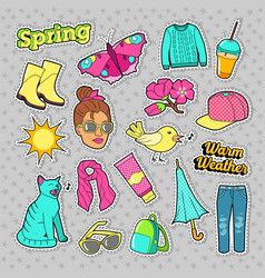 spring woman fashion with clothes and accessories vector image