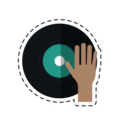 Cartoon hand dj playing vinyl vector