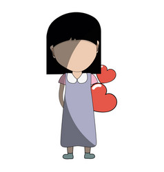 Pretty girl with hearts in the hand and dress vector