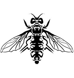 hand drawn sketch of fly black and white tattoo vector image
