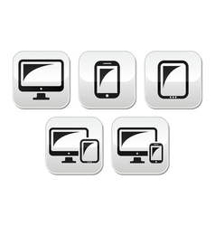 Computer tablet smartphone buttons set vector