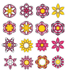 Set of cartoon colored flowers vector