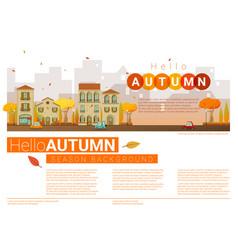 Hello autumn cityscape background vector