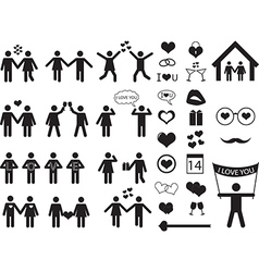 People pictogram for valentine day vector
