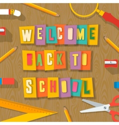 Back to school background paper collage vector image