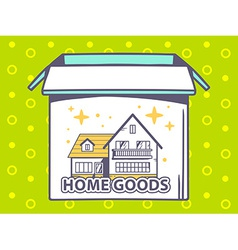 Open box with icon of home goods on gree vector