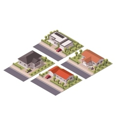 Isometric houses set vector
