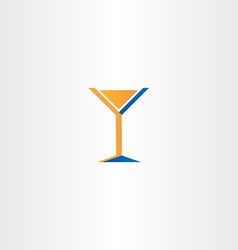Cocktail icon orange blue glass vector