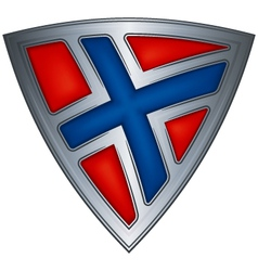 Steel shield with flag norway vector