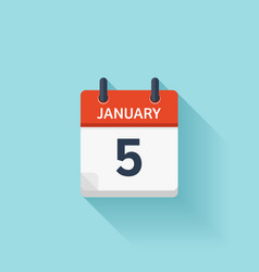 January 5 flat daily calendar icon date vector