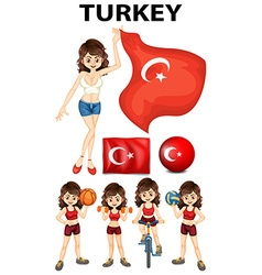 Turkey flag and woman athlete vector