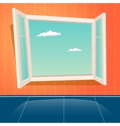 Cartoon open window design template retro vector