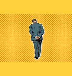 Adult man standing with back pop art retro vector