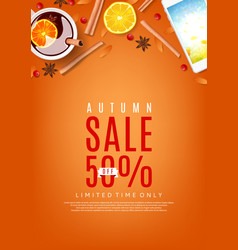 Autumn sale orange poster vector