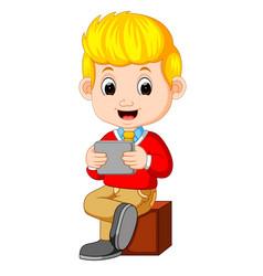 cartoon businessman holding a smartphone vector image