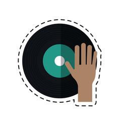 Cartoon hand dj playing vinyl vector