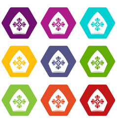 Christian hat icon set color hexahedron vector