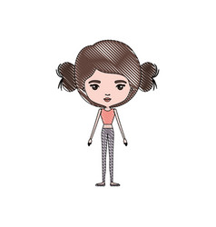 Color crayon silhouette caricature skinny woman in vector