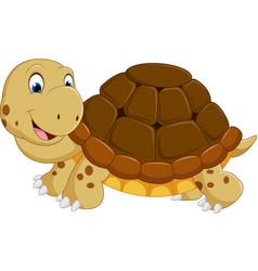 cute turtle cartoon running vector image