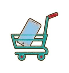 Drawing shopping cart online mobile phone green vector