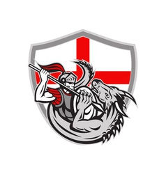 English knight fighting dragon england flag shield vector