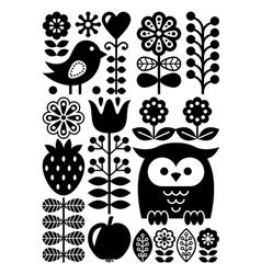 Finnish inspired folk art pattern scandinavian vector
