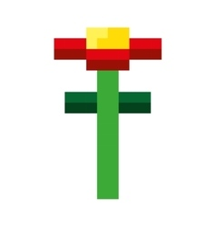 Flower garden pixelated icon vector