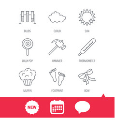 footprint lab bulbs and thermometer icons vector image vector image
