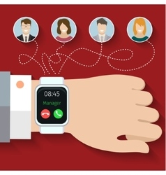 Group call through smart watches vector image vector image