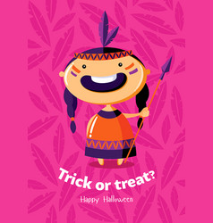 Halloween poster trick or treat with red indian vector
